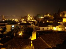 night obidos portugal Στοκ Εικόνες