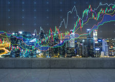 Night office with graphs stock photo