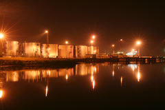 Night oil tanks in the harbor Royalty Free Stock Photography