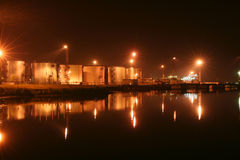 Night oil tanks in the harbor Royalty Free Stock Photo