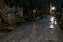Night at Okunoin cemetery, Koya san, Japan. Nighton the road at Okunoin cemetery, Koya san, Japan Stock Photography