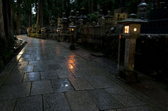 Night at Okunoin cemetery, Koya san, Japan Stock Photography