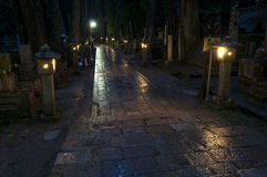 Night at Okunoin cemetery, Koya san, Japan Stock Photos