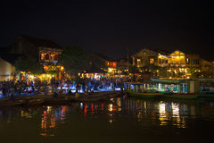 Night on the old city embankment. Hoian, Vietnam Royalty Free Stock Photo