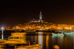 The night in old city Rovinj with boats - Croatia Stock Images