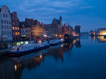 Night at old Gdansk, Poland. Night scene of quay of Motlawa, Gdansk, Poland Royalty Free Stock Photos
