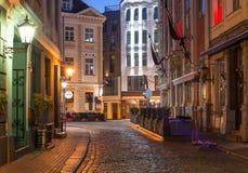 Night in old Riga city, Latvia, Europe Royalty Free Stock Photo