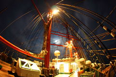 Night on an old sailing ship Royalty Free Stock Image