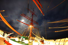 Night on an old sailing ship Stock Images