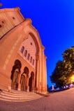 Night of the old synagogue of Uzhgorod, Ukraine Stock Photography