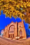 Night of the old synagogue of Uzhgorod, Ukraine Stock Images