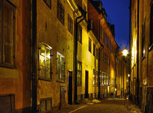 Night in Old Town. Cobblestone street at night in Stockholm Old Town stock photo