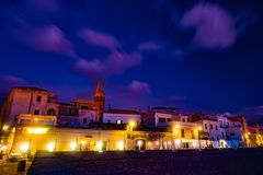 Night in the old town of Alghero, Sardinia, Italy royalty free stock images