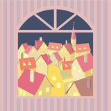Night old town. City rooftop. Old western cityscape Concept. Old town night panoramic view from window. Building rooftops. Vector Illustration vector illustration