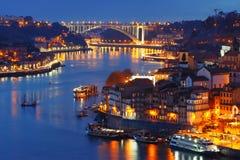 Night Old town and Douro river in Porto, Portugal. stock photo