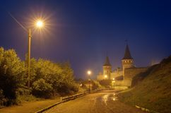 Night old town with a fortress Royalty Free Stock Image