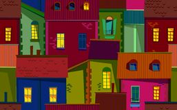 Night old town illustration Royalty Free Stock Photos