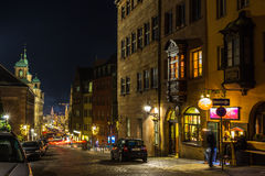 Night old town street- Nuremberg-Germany Royalty Free Stock Images
