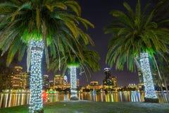 Night at Orlando. Orlando, Florida, USA, downtown city skyline from Eola Park Stock Photo