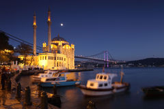 Night in Ortakoy Mosque Royalty Free Stock Image