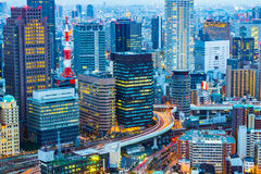 Night at Osaka city skyline in Japan Stock Image