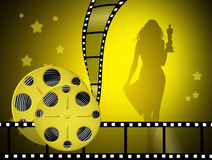 The night of the Oscars. Illustration of the night of the Oscars with woman silhouette Stock Photos