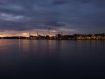 Night on Oslo waterfront Royalty Free Stock Photos
