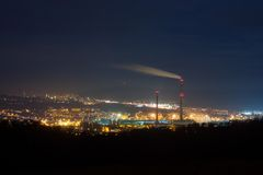 Night Otrokovice Czech Republic. Night industrial city with stacks Stock Photos