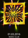 Night out. Dance disco. A volley of fireworks.  Royalty Free Stock Images