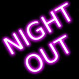 Night out neon sign retro design. Night out design neon sign neon sign red retro glow for  Abstract resembling 24 hours neon sign - suitable for night time Royalty Free Stock Photo