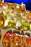 Night outdoor view Gaudi's creation-house Casa Batlo. Royalty Free Stock Images