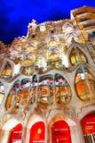 Night outdoor view Gaudi's creation-house Casa Batlo. Barcelona. Spain stock photography