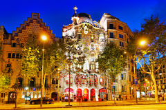 Night outdoor view Gaudi's creation-house Casa Batlo. Stock Images