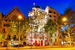 Night outdoor view Gaudi's creation-house Casa Batlo. Barcelona. Spain stock images