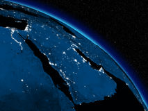 Night over Arabian peninsula Stock Photo