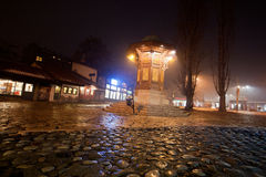 Night over Bascarsija square with historical Sebilj wooden fountain Royalty Free Stock Photo