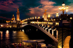 Night over bridge Stock Photos