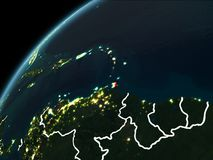 Night over Caribbean. Caribbean in red on planet Earth at night with visible borderlines and city lights. 3D illustration. Elements of this image furnished by Royalty Free Stock Image