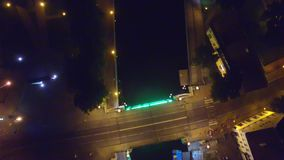 Night over the city center from bird eye. City lights. stock video footage