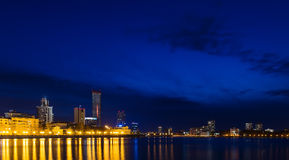 Night over the city center and a summer pond Yekaterinburg Stock Photography