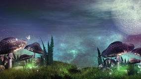 Night over fairytale meadow Stock Photography