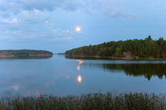 Night over Ladoga lake Royalty Free Stock Images