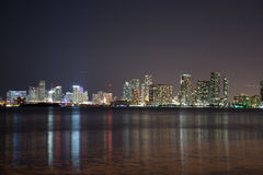 Night over Miami, Florida, USA Stock Image