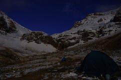 The Night over Mountain Aragats Armenia. Mountain sky peaks snow sun blue snow Armenia Caucasus sky Sun Stock Image