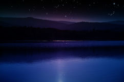 Night over the Mountains and Lake Royalty Free Stock Images