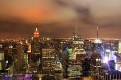 Night over New York city skyline. View from the plattform of Rockefeller center at night over New York City skyline Stock Photography