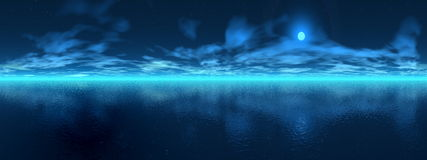 Night over ocean - 3D render Stock Photos