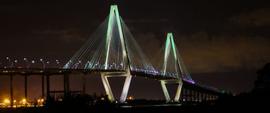 Night over the the Ravenel Bridge Stock Image