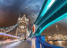 Night over Tower Bridge in London. Blue shapes of metal structur Royalty Free Stock Photography