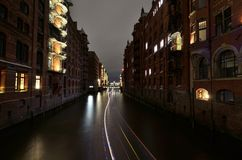 Night over warehouse district in Hamburg city Royalty Free Stock Photo